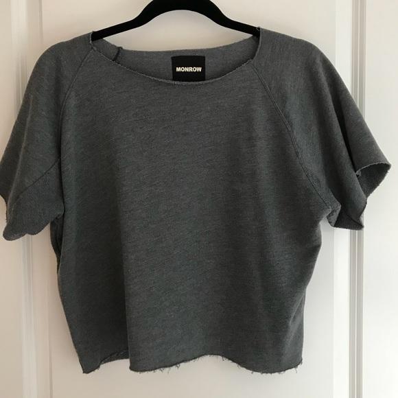 39df32ff7e8 MONROW Short Sleeve Grey Distressed Sweatshirt. M 5b48e55ac61777bf8e879b28